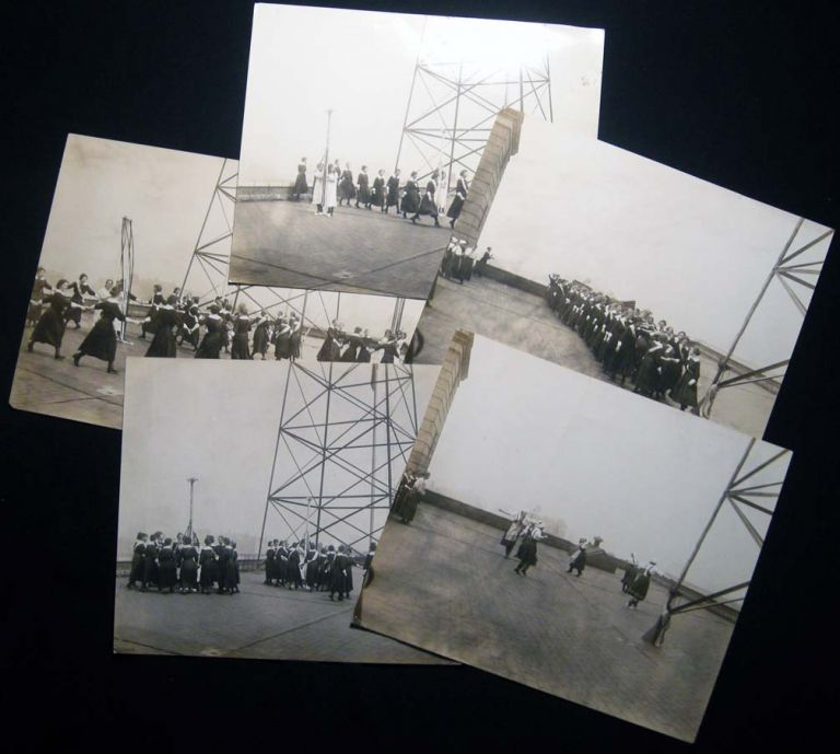 Circa 1915 Group of Photographs Girls School Practicing May Pole and Folk Dancing on Building Rooftop in New York City. Americana - 20th Century - Photography - Girls Dance - May Day - New York City.