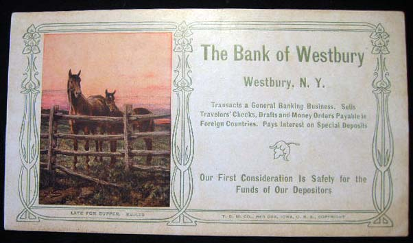The Bank of Westbury N.Y. Blotter with Color Illustration By Carl Kahler. Bank of Westbury.