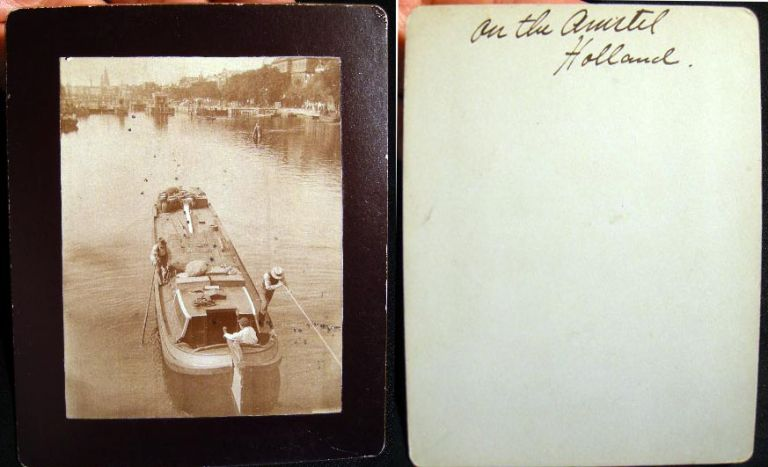 Early Cabinet Card Photograph of A Barge Being Poled on the Amstel River Holland. Holland.