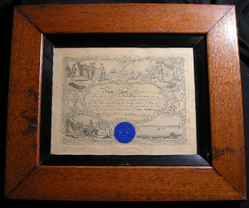 Membership Certificate for the New York Marine Society No. 3305 Issued to Capt. Asmus Leonhard February 8 1897 Framed and Glazed. New York Marine Society.
