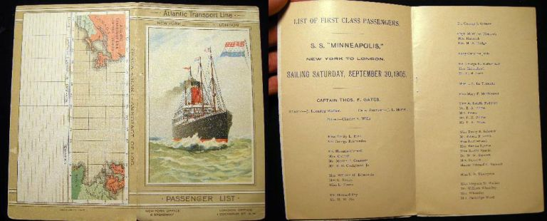 List of First Class Passengers S.S. Minneapolis New York to London. Sailing Saturday, September 30, 1905. S S. Minneapolis.