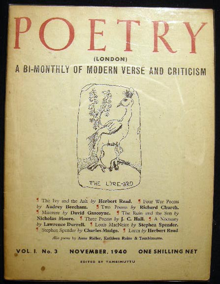 Poetry (London) A Bi-Monthly of Modern Verse and Criticism Vo. I. No. 3 November, 1940. Poetry.