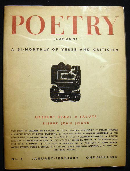 Poetry (London) A Bi-Monthly of Modern Verse and Criticism No. 4 January-February 1941. Poetry.