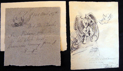 Original Art Ink Sketch By Charles H. Niehaus with a Hand-Drawn Ink Invitation to His Shop with Its Own Drawing. Charles H. Niehaus.