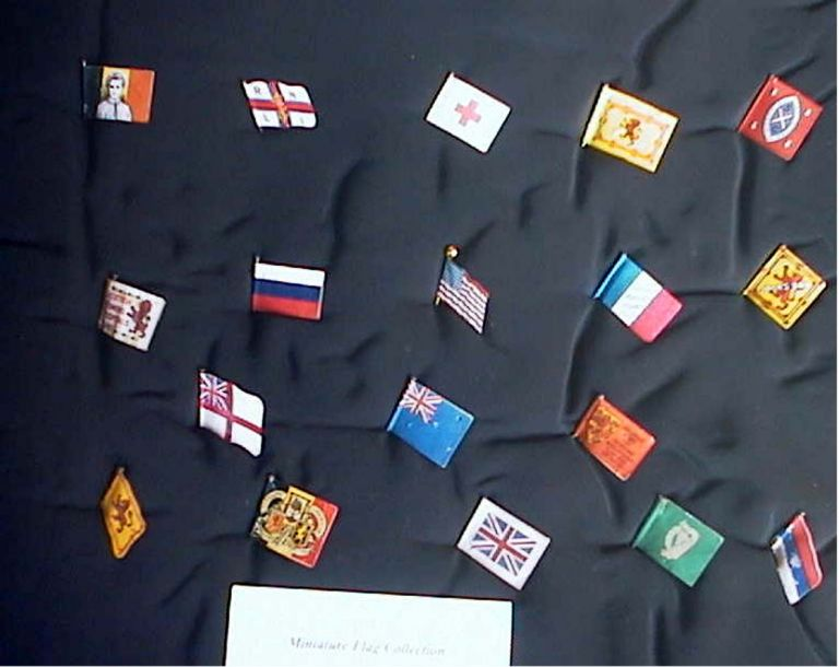 Collection of 18 Miniature Flags. Flags.