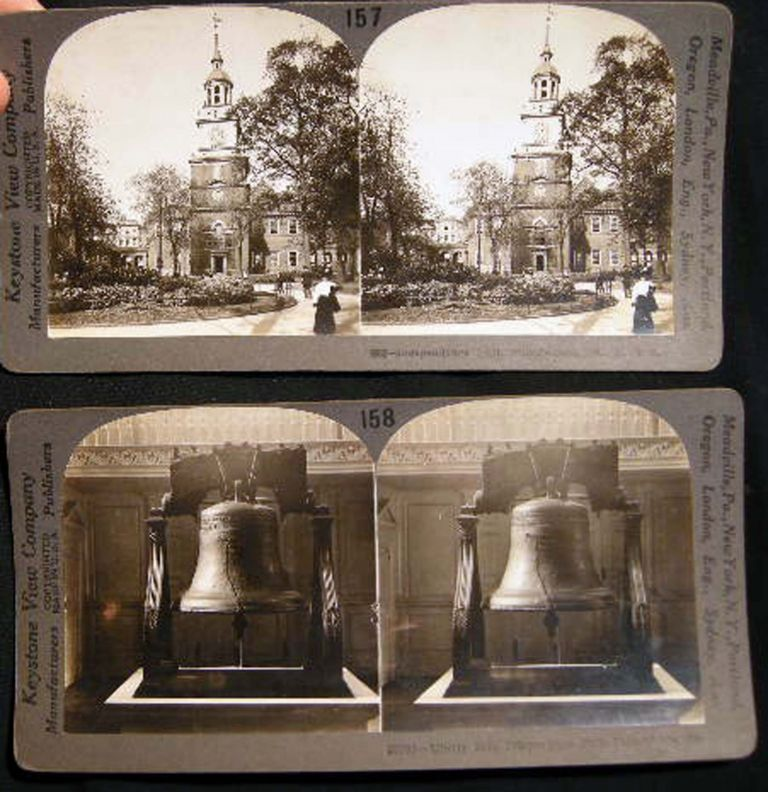 2 Stereoviews of Independence Hall and Liberty Bell. Independence Hall.