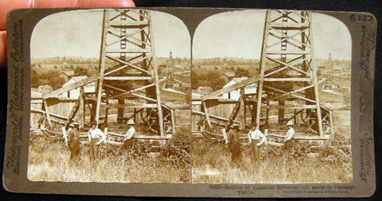 Stereoview of Source of Gigantic Fortunes - Oil Wells in Pennsylvania. Oil Industry.