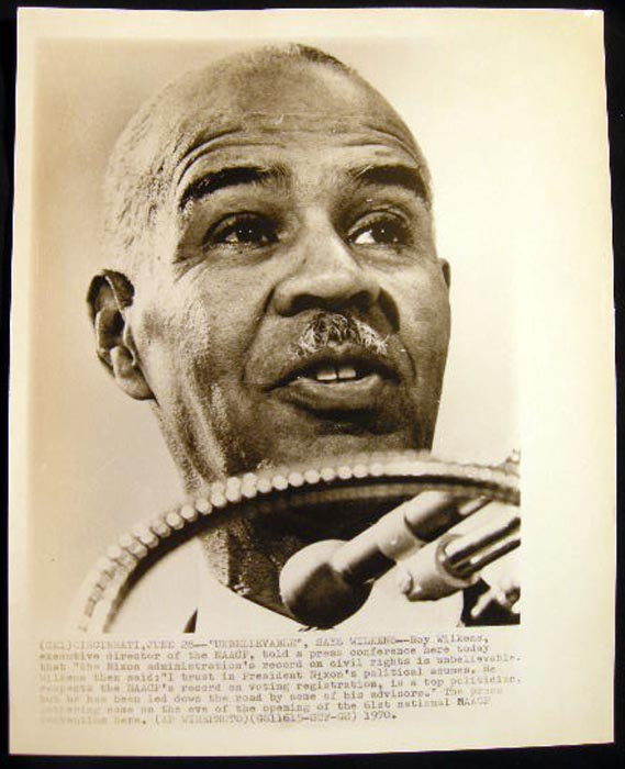 """Photograph of Roy Wilkens Executive Director of NAACP Told a Press Conference Here (Cincinnatti, June 28 1970 Today That """"the Nixon Adminstration's Record on Civil Rights is Unbelievable..."""" Roy Wilkens."""