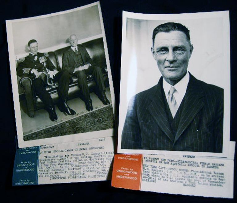 2 Photographs of Vice Admiral Sir Vernon H.S. Haggard and Secretary Adams of the Navy Department. Vice Admiral Sir Vernon H. S. Haggard.