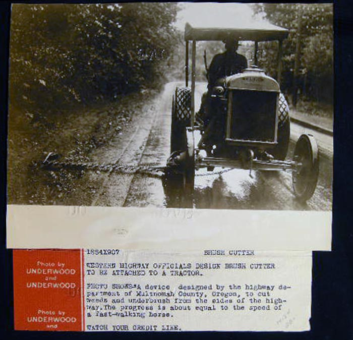 Photograph of C 1920s Brush Cutter Designed By Highway Department of Mutnomah County Oregon. Brush Cutter.