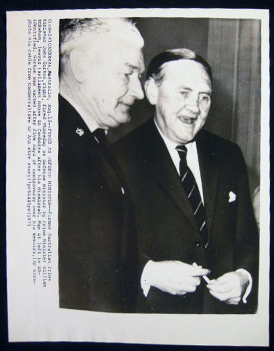 Photograph of Former Prime Minister John Gorton Fired as Defense Minister By P.M. William McMahon After Five days of Controversy Over His Memoirs. John Gorton.