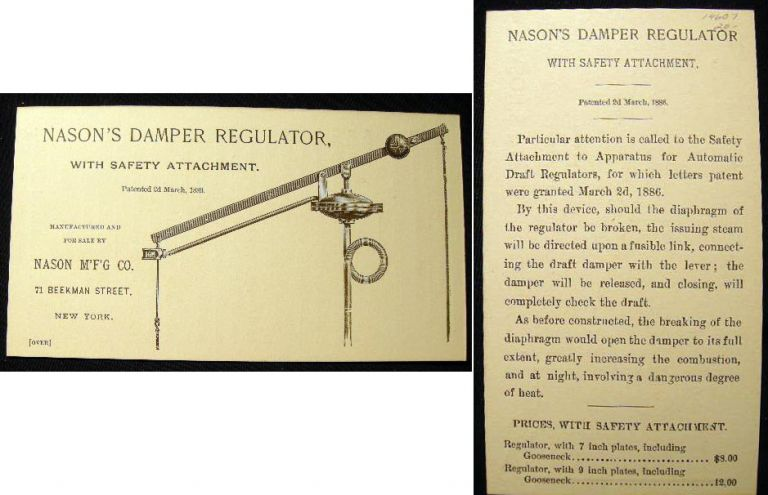 Nason's Damper Regulator, with Safety Attachment. Patented 2d March, 1886. Manufactured and for Sale By Nason M'F'G Co. 71 Beekman Street, New York. Nason Mfg. Co.