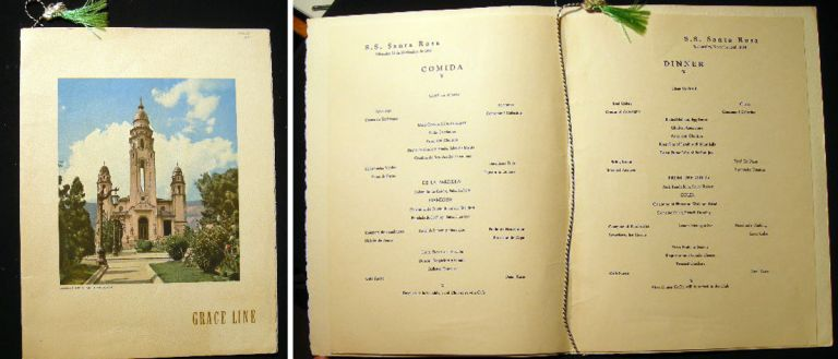 S.S. Santa Rosa Grace Line Wednesday, November 24th, 1954 Large Format Dinner Menu. S S. Santa Rosa.