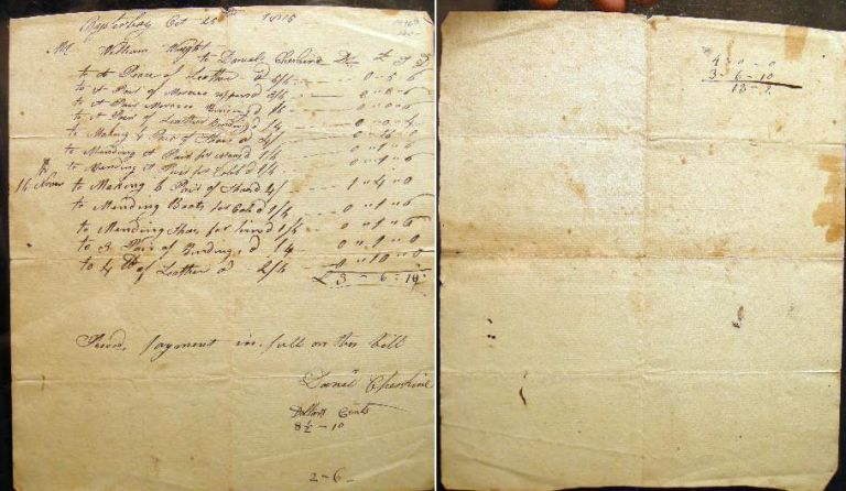 1815 Manuscript Ledger Sheet for Leather Binding, Repair & Shoemaker Work By Daniel Cheshire for William Wright Oyster Bay Long Island New York. Oyster Bay.
