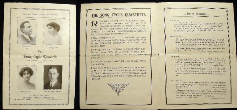 The Song Cycle Quartette Tour for Season 1913-14 Now Booking. Song Cycle quartette.