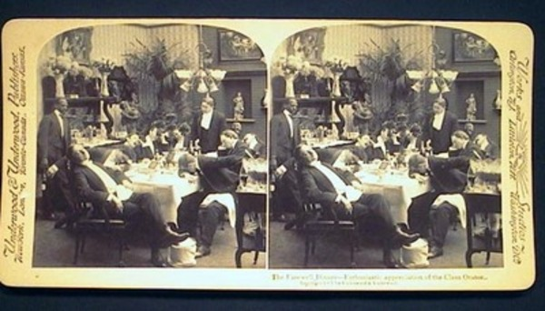 Humorous Stereoview Photograph of The Farewell Dinner- Enthusiastic Appreciation of the Class Orator. humor.