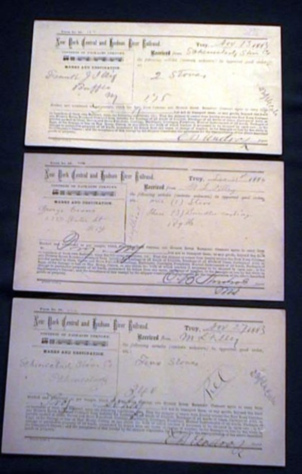 3 New York Central and Hudson River Railroad Goods Receipts for the Schenectady Stove Co. & M.L. Filley. New York Central, Hudson River railroad.