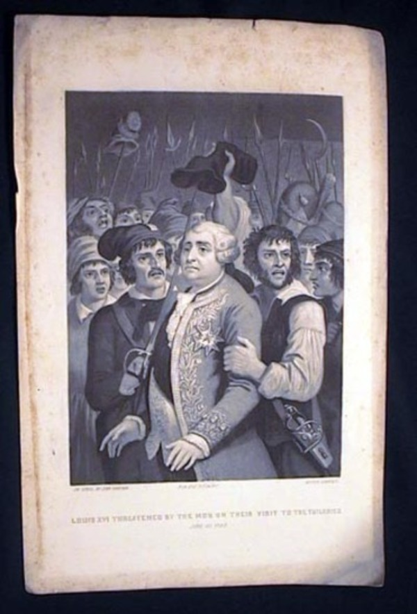 Engraved Portrait on Steel By John Sartain of Louis XVI Threatened By the Mob on Their Visit to the Tuileries June 29 1792. Louis XVI.
