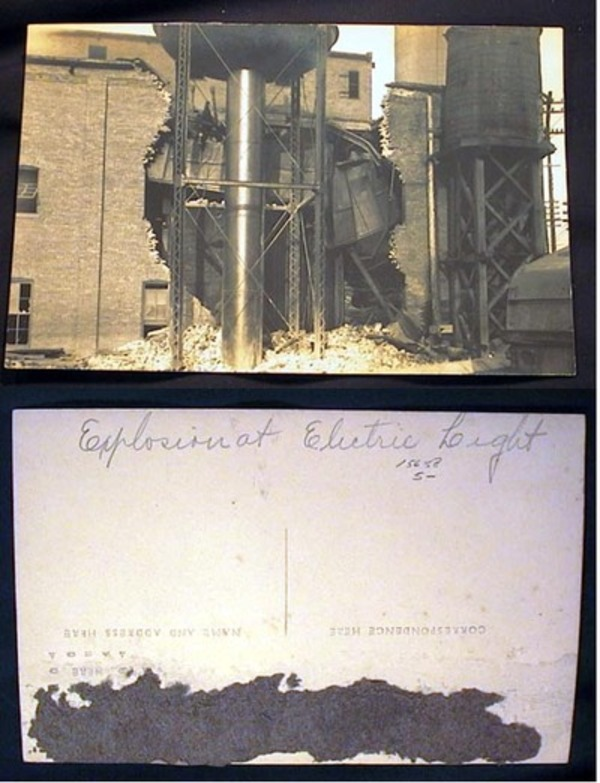 Real Photo Postcard of the Explosion at Electric Light. Electric Light Co.