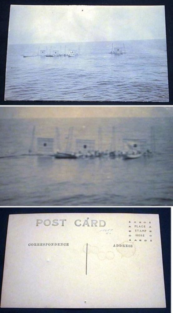 Real Photo Postcard of US Navy Personnel Setting Up Targets Mid-Ocean. World War II.