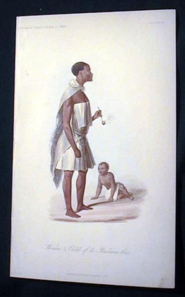 Hand-Colored Lithograph of Woman & Child of the Bushman Race. Bushman.