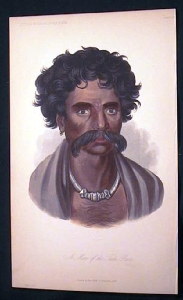 Hand-Colored Lithograph of a Man of the Tuda Race. Tuda.