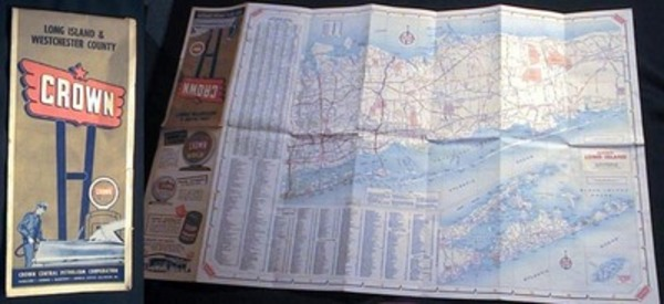 Folding Road Map of Long Island & Westchester County Crown Central Petroleum Corporation. Crown Central Petroleum Corporation.