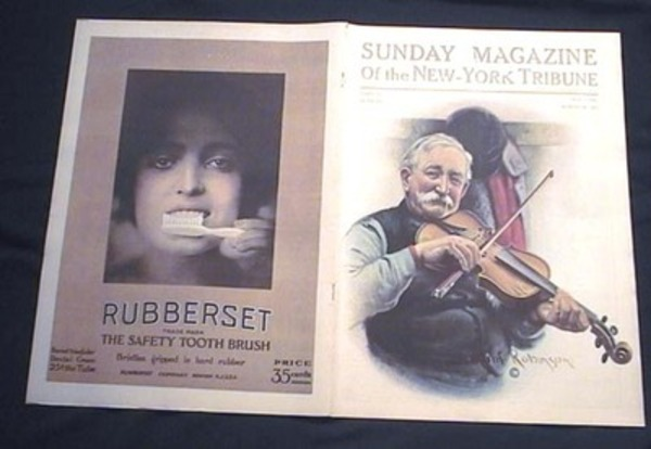Sunday Magazine of the New-York Tribune Part III March 26, 1911 Robert Robinson Color Cover Art & Color Rubberset Safety Tooth Brush Advertisement. New-York Tribune.