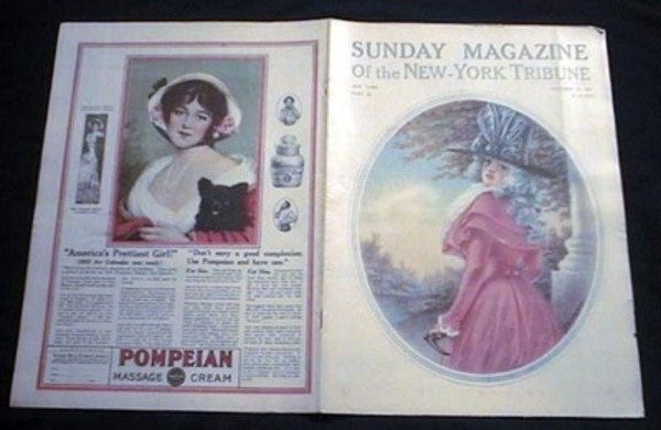 Sunday Magazine of the New-York Tribune Part III October 15, 1911 Color V.W. Newman Cover Art & Color Pompeian Massage Cream Company Advertisement. New-York Tribune.