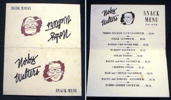 Norby Walters Snack Menu. Norby Walters.
