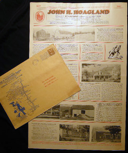 Group of Illustrated Broadsides Depicting Properties, Homes, Farms, Businesses for Sale By John H. Hoagland Realtor with Original Map-Illustrated Mailer Delaware County New York. Americana - 20th Century - Real Estate Development History - Delaware County - New York State.