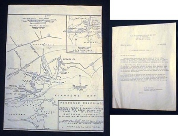 U.S. Army Engineer District, New Yor, Corps of Engineers Public Notice No. 5311 20 July 1964 Regarding Dredging in Reeves, Terry and Sawmill Creeks, Flanders Bay, Great Peconic Bay at Aquebogue Town of Riverhead, Suffolk County, New York with Map on Back. Riverhead.