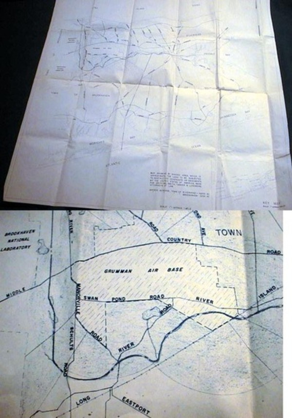 """Map Showing...Land to be Subjected to Restrictive Covenants or Easements By the United States of America, Made for Griffing, Smith, Tasker & Lundberg, Attorneys at Law. Approx. Acreage, Town of Riverhead 14,3000 Brookhaven 7,200 Scale 1""""= Approx 1 Mile. Riverhead, Brookhaven."""