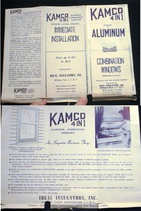 """Kamco 4 in 1 Patented All Aluminum Extruded Combination Windows """"Precision Built for Lifelong comfort"""" Brochure. H A. Kammerer."""