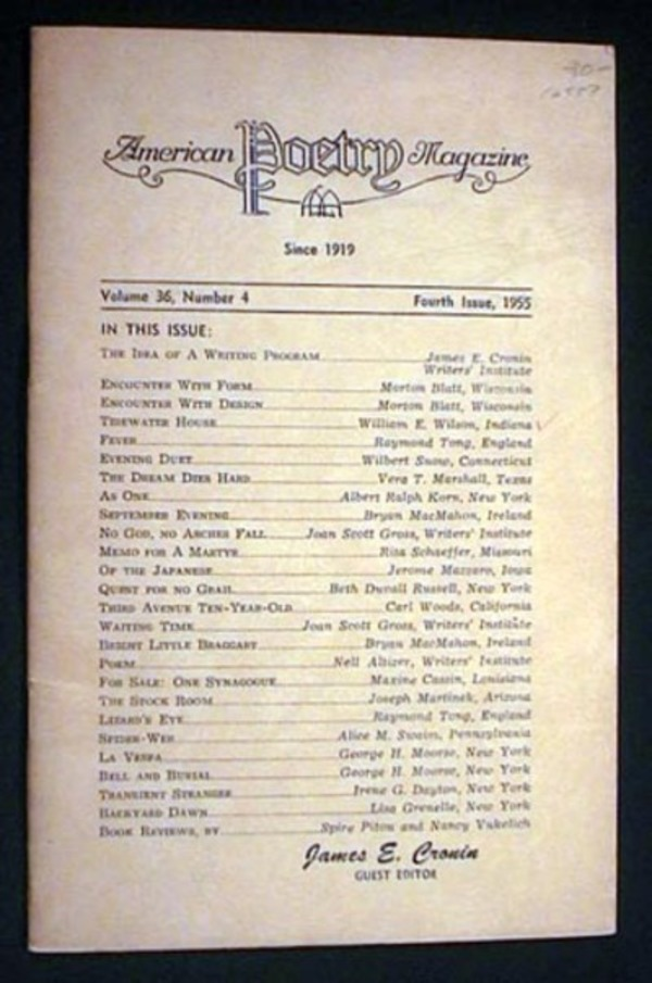 American Poetry Magazine Volume 36, Number 4 Fourth Issue, 1955 James E. Cronin Guest Editor. American Poetry Magazine.