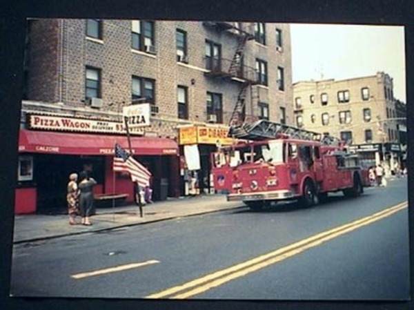 1994 Photograph of Seagrave Tower Ladder Fire Truck 86th Street & 5th Avenue Brooklyn New York. Brooklyn.