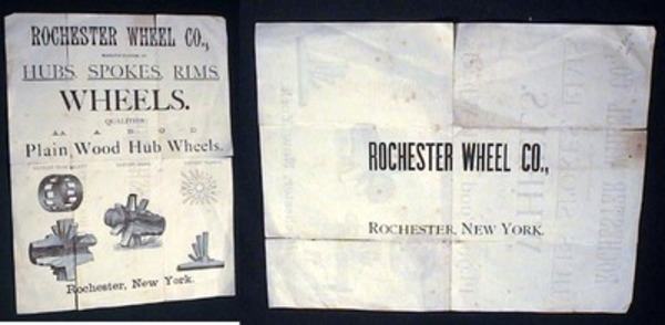 Illustrated Advertisement Flyer for the Rochester Wheel Co., Manufacturers of Hubs, Spokes, Rims, Wheels. Qualities AA A B C D Plain Wood Hub Wheels. Patent Iron Jacket. Patent Band. Patent Flange. Rochester Wheel Co.