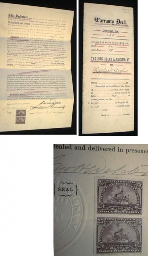 1899 Warranty Deed. Contract No. 325...The Long Island Land Company to Raphael Avalone for Land in Babylon Long Island. The Long Island Land Company.