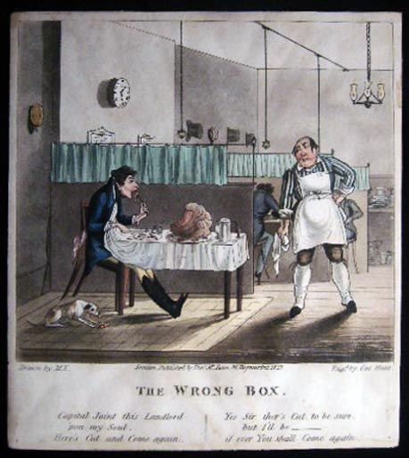 The Wrong Box Original Hand Coloured Engraving By Geo. Hunt After M.E. Geo Hunt.