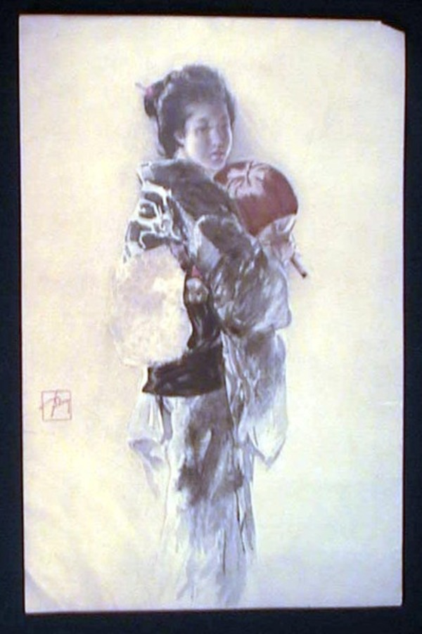 C 1890 Chromolithographed Image of a Japanese Woman. Japan.