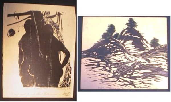 2 Modern Woodblock Prints By M.A. Dailey: Snowscape and Adam & Eve. M. A. Dailey.