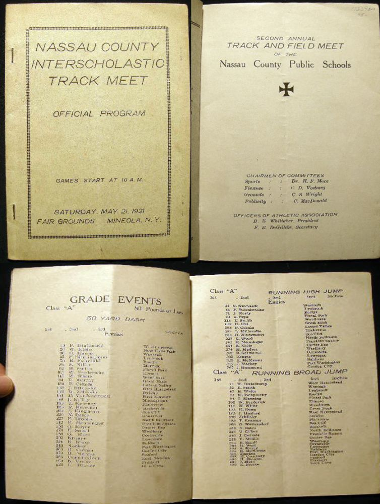 Second Annual Track and Field Meet of the Nassau County Public Schools Official Program Saturday, May 21, 1921 Fair Grounds Mineola, N.Y. Nassau County.