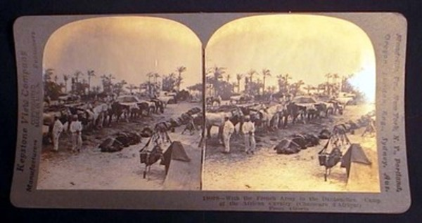 Stereoview of World War I With the French Army in the Dardanelles. Camp of the African Cavalry (Chasseurs d'Afrique) from Algeria. World War I.