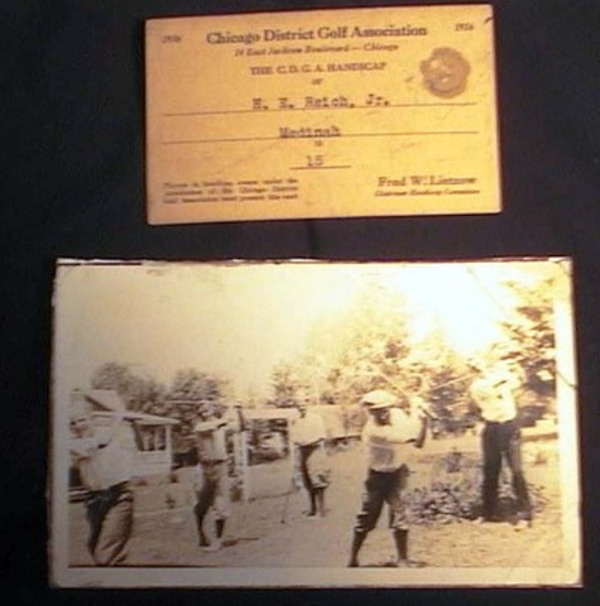 1936 Photograph of Golfers Practising Their Swings (with) a Chicago District Golf Association Handicap Card for H.E. Reich, Jr. Photography.