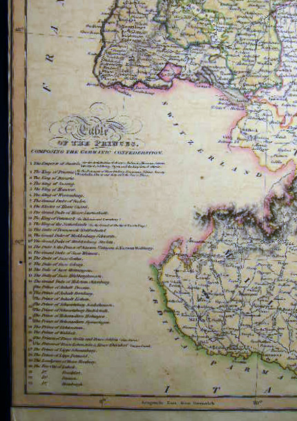 Map of Southern Part of Germany (with) Table of the Princes Comprising the Germanic Confederation. Germany - 19th Century - Cartography - Map - Germanic Confederation.
