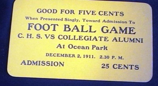 Good for Five Cents When Presented Singly, Toward Admission to Foot Ball Game C.H.S. Vs Collegiate Alumni at Ocean Park December 2, 1911. 2.30 P.M. Admission 25 Cents Unused Ticket. Ticket.