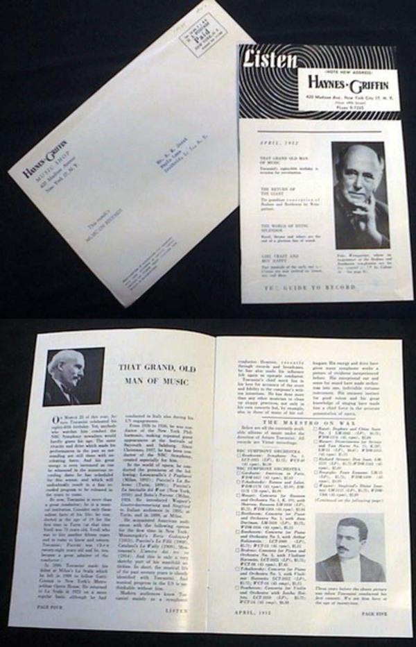 Listen April 1952 Haynes Griffin 420 Madison Avenue New York Catalogue and Audio Review Guide. Haynes Griffin.