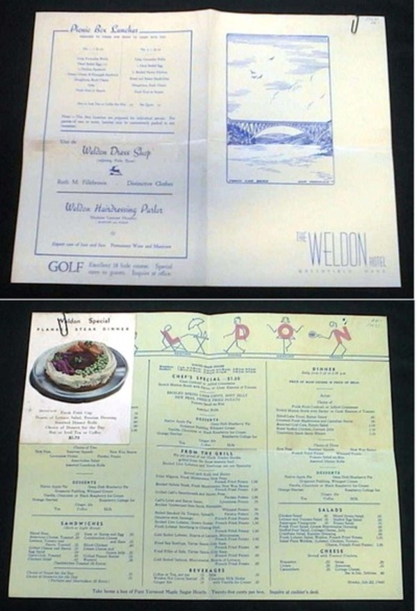 1940 Menu for The Weldon Hotel Greenfield Mass. The Weldon Hotel.