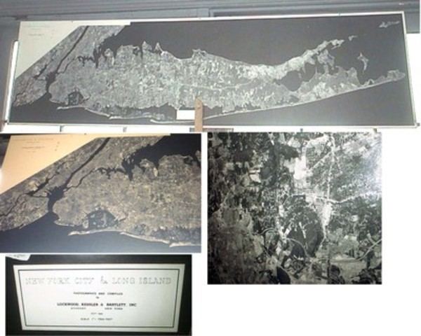 1968 Black and White Panoramic Birds-Eye-View Aerial Map of New York City & Long Island Compiled By Lockwood, Kessler & Bartlett Syosset (and) New York. Long Island Map.