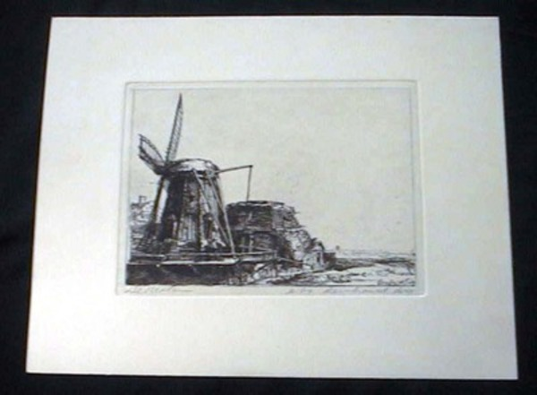 """Etching in Black and White Titled """"De Molen"""" By Rembrandt. Rembrandt."""
